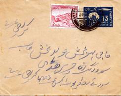 PAKISTAN 1935? - 13 Paisa Ganzsache + 2 P Zusatzfr.auf Brief Gelv.Karachi Nach ? - Pakistan
