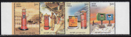 India MNH 2005, Horiozontal Strip, , Se-tenent Letter Box, Postbox, Horse Carriage. Car, Philately, Etc - Neufs