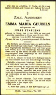 Geubels Emma,Maria - Staelens Jules ° Sinaai 1878 + 1937 Eyne Lot.6324 - Devotion Images