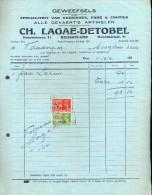 Factuur Facture - Stoffen Kledij Weefsels  Ch.Lagae - Detobel  - Roeselare 1941 - Textile & Vestimentaire
