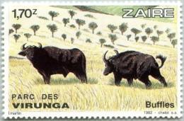 N° Yvert 1099 - Timbre De La Rép. Du Zaïre (1982) - MNH - Parc National Virunga - Buffles (JS) - 1980-89: Neufs