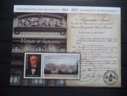 2014 Romania - University , Architecture , Building , Bucharest - Souvenir Sheet - Used - MNH - Arquitectura