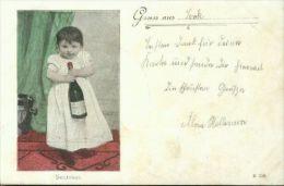 Rarität Kind Mit Sektflasche Gruss Aus Leck 5.6.1900 Leck Nach Schafflund 6.6.00 - Taferelen En Landschappen