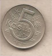 Cecoslovacchia - Moneta Circolata Da 5 Corone - 1975 - Cecoslovacchia