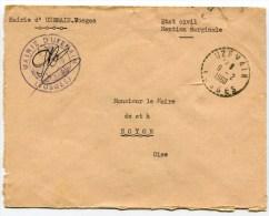 VOSGES De UZEMAIN  Cachet B7  De 1960 Sur Env. A En Tête De La Mairie - Marcophilie (Lettres)