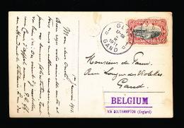 BELGISCH CONGO - STEMPEL BOOT ELISABETVILLE - STEMPEL BELGIUM VIA SOUTHAMPTON ( ENGLAND) 1911 3 SCANS