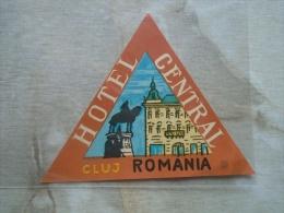 Hotel label  - luggage label - Hotel Central  CLUJ Kolozsv�r  Romania  KA336.17