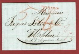 Lettre 1846 Oblitération Torino 21 Agos Vers Wohlen (Suisse) - Italia
