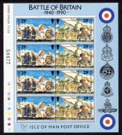 GB ISLE OF MAN IOM - 1990 BATTLE OF BRITAIN 29p SHEETLET (8V) FINE MNH ** - Isle Of Man