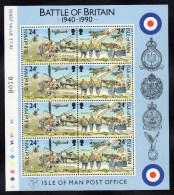GB ISLE OF MAN IOM - 1990 BATTLE OF BRITAIN 24p SHEETLET (8V) FINE MNH ** - Isle Of Man