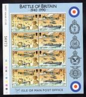 GB ISLE OF MAN IOM - 1990 BATTLE OF BRITAIN 15p SHEETLET (8V) FINE MNH ** - Isle Of Man
