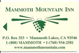 HOTEL MAMMOTH MOUNTAIN INN CANADA  llave clef card keycard karte
