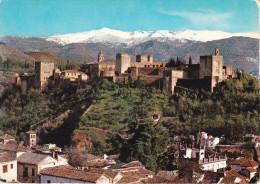 España--Granada--Vista General De La Alhambra Y Sierra Nevada--Fechador-Correo Aereo, Granada--a, Sotterville Les Rouen, - Castillos