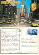 Times Square Cars, New York City NYC, New York, United States US Postcard Posted 2002 Stamp - Time Square