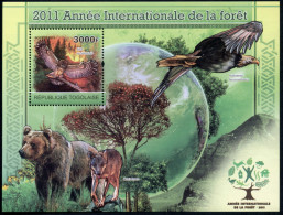 Togo, 2011, International Year Of Forests 2011, Michel #Block 607, Scott #-, MNH, Perforated Souvenir Sheet - Togo (1960-...)