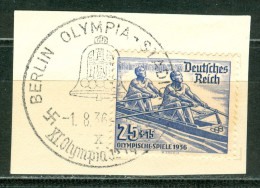 GERMANY Fragment With Olympic  Rowing Stamp With Olympic Cancel Olympia Stadion X From 1.8.36 The Opening Day - Summer 1936: Berlin