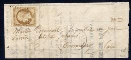 Lettre Avec Correspondance N°9 Signée Avec Certificat Calves Cote Dallay 1150€ - 1852 Louis-Napoléon