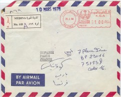 LBEL -ARABIE SAOUDITE LETTRE RECOMMANDÉE MÉDINA / PARIS 25/3/1998 - Arabie Saoudite
