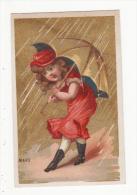 Chromo  MOYEN LESSELIN  à Amiens   Mois De Mars   Femme Et Parapluie - Chromos