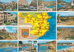 España--Gerona--1983--Costa Brava--Poblaciones--Fechador--Cerbere-a Reims, Francia - Mapas