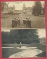 Houyet - Château D´Ardenne - 2 Cartes ( Joueur De Golf Et Sonneurs De Cors De Chasse ) - Voir Verso - Golf