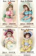 4 Chromos Format CP.Fillettes Avec Coiffes.Aux 4 Freres. A.Grassin Bordeaux. - Autres