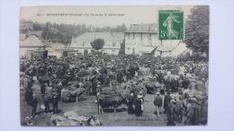 BOURGANEUF 23 La FOIRE De La SAINT JEAN Aux Bestiaux Vache Creuse CPA Animee Postcard - Bourganeuf