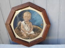 A. LETORT - Portrait D´enfant 1916 - Amusant Cadre Hexagonal - Pastels
