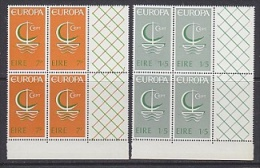 Europa Cept 1966 Ireland 2v Bl Of 4 (corners)  ** Mnh (24127A) - Europa-CEPT