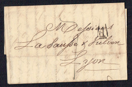 1826  Lettre De Paris Pour Lyon  P Dans Triangle Ouvert Noir  Texte Complet Inclus - 1801-1848: Precursors XIX