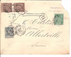 LETTRE CACHET A DATE RECOMMANDE LEVALOIE PERRETAVEC YPE SAGE 15C +2 25C ET 1 5C - Marcophilie (Lettres)