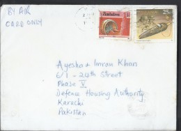 Zimbabwe Airmail 1985 $1 Mbira, National Infrastructure, 1990 Cultural Artifacts 25c Definitive Postal History Cover - Zimbabwe (1980-...)