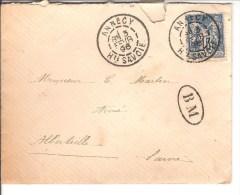 LETTRE CACHET A DATE ANNECY AVEC TYPE SAGE 15C +BM BOITE MOBILE - Marcophilie (Lettres)