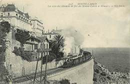- Ref - H809 -  Monaco - Monte Carlo - La Cote Du Chemin De Fer De Monte Carlo A Monaco - Train - Carte Bon Etat - - Monte-Carlo