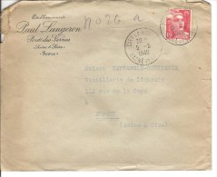 LETTRE CACHET A DATE CIRY LE NOBLE TYPE MARIANNE DE GANDON 15F ETABLISSEMENT PAUL LANGERON - Marcophilie (Lettres)