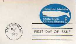 """U S A   NEW BEDFORD  Herman Melville 1819/1891 """"Moby Dick""""  7/03/70 - Ecrivains"""
