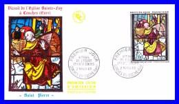 1377 (Yvert) Sur FDC (PJ) - Oeuvres D'art. Saint Pierre. Vitrail De L'Église Sainte-Foy à Conches (Eure) - France 1963 - FDC