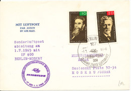 Germany DDR cover UInterflug Sonderflug Special flight Berlin - Moskau 1-7-1965
