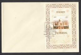 INDIA, 2004, FDC, Taj  Mahal, Agra,   MINIATURE SHEET, First Day  Of Issue, Jabalpur  Cancellation - FDC