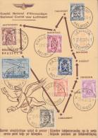 Carte  BELGIQUE  1er  Service  Postal  Belge  Par  Hélicoptére   1950 - Hélicoptères