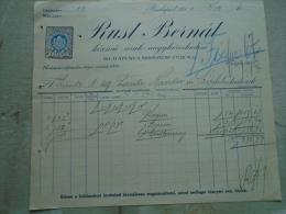 Hungary Invoice  RUST BERNÁT  Budapest Kézmű áruk Nagyk. 1914 To Lántz Nándor  Temesszépfalu Frumuseni Banat   KA342.23 - Austria