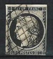 """YT 3a """" Cérès 20c. Noir Sur Blanc """" 1849-50 Grille 1849 - 1849-1850 Ceres"""