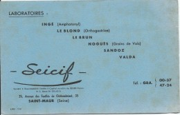 Buvard/Laboratoires SEICIF/ Saint-Maur/ Seine/1951        BUV207 - Blotters