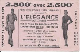 Buvard/Textile Et Vestimentaire/L'Elégance/Maison PARKER/ COURBEVOIE/Vers 1950  BUV226 - Textile & Vestimentaire