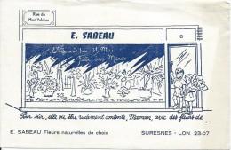 Buvard/Fleuriste/Sabeau/Fleurs Naturelles/SURESNES/Vers 1950  BUV228 - Carte Assorbenti