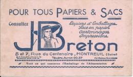 Buvard/Papeterie/Tous Papiers Et Sacs /J Breton /MONTREUIL/Seine /Vers 1950  BUV237 - Stationeries (flat Articles)