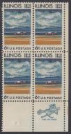 !a! USA Sc# 1339 MNH ZIP-BLOCK (LR) - Illinois Statehood; 150th Anniv. - Unused Stamps