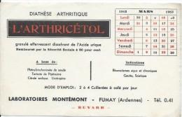 Buvard/Produits Pharmaceutiques / Arthricétol/Laboratoires Montémon/FUMAY/ Ardennes/1953  BUV238 - Drogerie & Apotheke