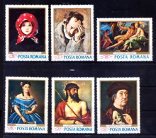 Romania 1968 MNH 6v, No Gum, Paintings, Tattarescu, Grigorescu, Luchian, Titian - Art