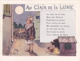 PUBLICITÉ L´ALCOOL DE MENTHE RICQLÈS (H. Gerbault) La Jeune Fille Et Le Chien Au Clair De La Lune - Comptine - Publicité